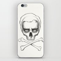 house md iPhone & iPod Skins featuring Everybody Dies - House MD Skull Crossbones by Olechka