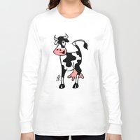 cow Long Sleeve T-shirts featuring Cow by Cardvibes.com - Tekenaartje.nl