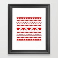 Red Hearts Pattern Framed Art Print