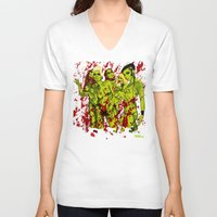 zombies V-neck T-shirts featuring SEXY ZOMBIES by Thomas B.- Rock Artwork