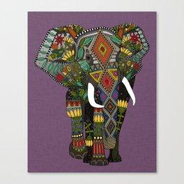 floral elephant violet Canvas Print