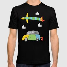 Car Plane Clouds Black Mens Fitted Tee MEDIUM