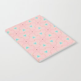 80's pretty in pink w/ turquoise triangles & green leaves Notebook