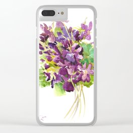 Violets, violet flowers, purple olive green floral design Clear iPhone Case