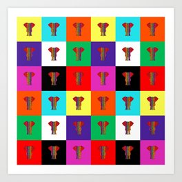 Rainbow Elephant Color Quilt Art Print