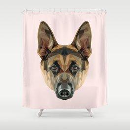 German Shepherd // Pastel Pink Shower Curtain