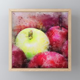 The Odd One Out - Red and Yellow Apples Still Life Watercolor Framed Mini Art Print