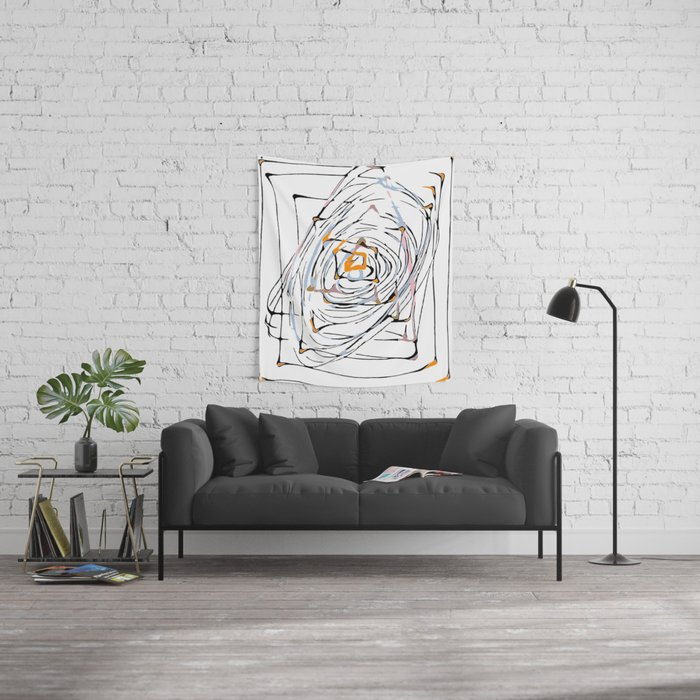 drawing square triangle and circle pattern abstract in orange blue and pink Wall Tapestry