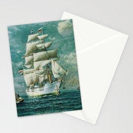 Vintage Large White Sailboat Painting (1895) Stationery Cards