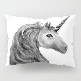 Unicorn, black and white Pillow Sham