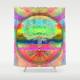 Neon Glow Tree of Life Shower Curtain