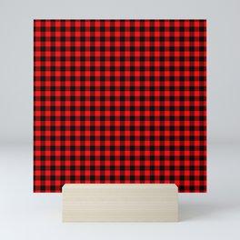 Valentine Red Heart Rich Red and Black Buffalo Check Plaid Mini Art Print