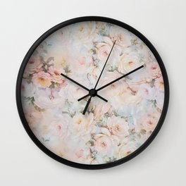 Vintage romantic blush pink ivory elegant rose floral Wall Clock