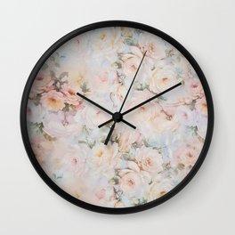 Vintage romantic blush pink ivory elegant rose floral Wall Clock