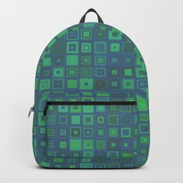 Green Abstract Square Pattern Big Backpack