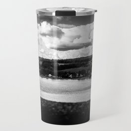 Cityscape Möhne From Reservoir Barrage Wall 2 bw Travel Mug