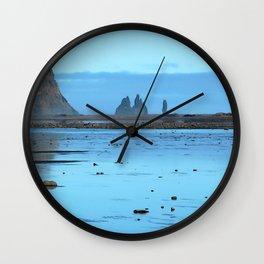 Watercolor Landscape, Reynisdrangar 01, Vik, Iceland Wall Clock