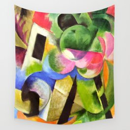"""Franz Marc """"Small Composition II also known as House with Trees) (Haus mit Bäumen) Wall Tapestry"""