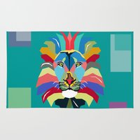 lion Area & Throw Rugs featuring lion by mark ashkenazi