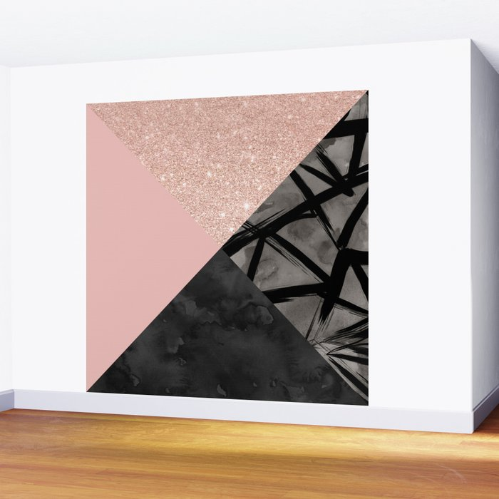 Modern pastel pink black strokes watercolor color block Wall Mural