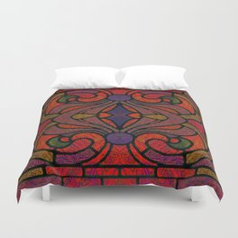 Art Nouveau Glowing Stained Glass Window Design Duvet Cover