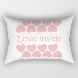 Love inside text with pink hearts Rectangular Pillow
