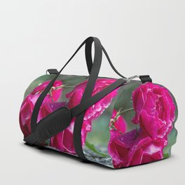 Lying roses covered by raindrops Duffle Bag
