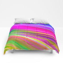 neon saturn waves Comforters