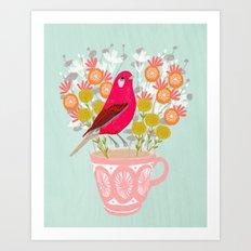 Bird on a Teacup by Andrea Lauren  Art Print