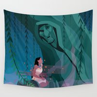 pocahontas Wall Tapestries featuring Pocahontas Spirit by LydiaSchüttengruber