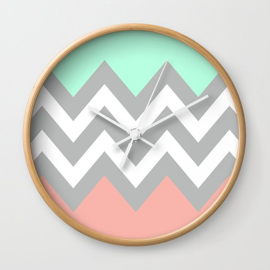 DOUBLE COLORBLOCK CHEVRON {MINT/CORAL/GRAY} Wall Clock