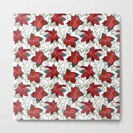 Poinsettia Christmas Star Metal Print