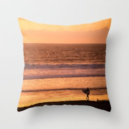 Surfer watching sunset in Southern California Throw Pillow