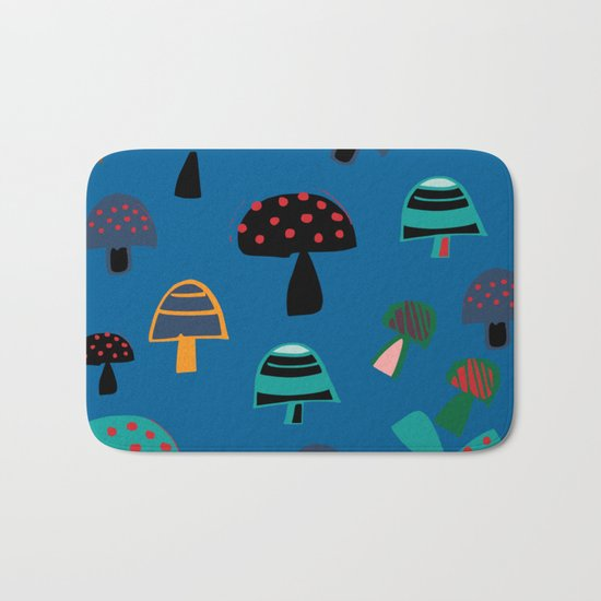 Cute Mushroom Blue Bath Mat
