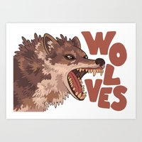 wolves Art Prints featuring Wolves by Lindsey Lea