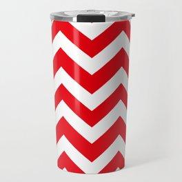KU crimson - red color - Zigzag Chevron Pattern Travel Mug