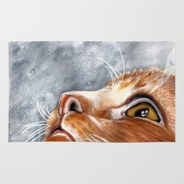 Ginger Cat Watercolour Painting Rug