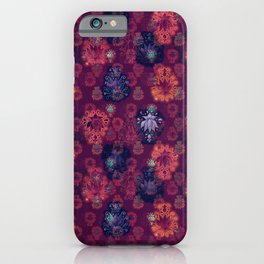 Lotus flower - fire on mulberry woodblock print style pattern iPhone Case