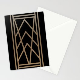 BLACK AND GOLD 2 (abstract art deco geometric) Stationery Cards