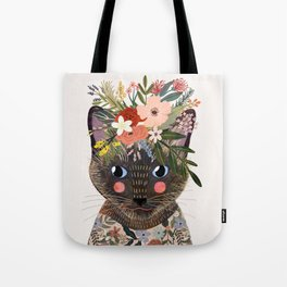 Siamese Cat with Flowers Tote Bag