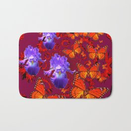 Lilac Iris  Monarch Butterflies Burgundy Color Bath Mat