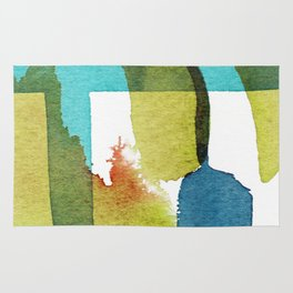 Blue and Yellow and Green Abstract Art Rug