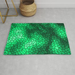 Stained glass texture of snake green leather with bright heat spots. Rug