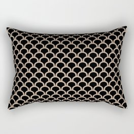 ARC beige arches on black repeating pattern Rectangular Pillow