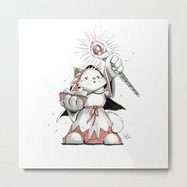 White Mage Munchkin Cat Metal Print
