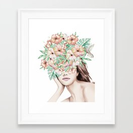 She Wore Flowers in Her Hair Island Dreams Framed Art Print