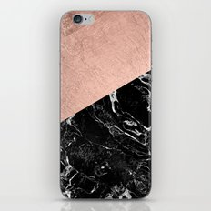 Bold modern rose gold black marble color block iPhone & iPod Skin