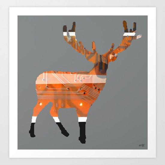 Digital roaring deer Art Print
