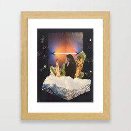 Woman in front of cacti,hills and neon lamp Framed Art Print