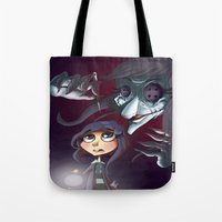 coraline Tote Bags featuring Coraline by Phil Vazquez